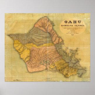 Oahu, islas hawaianas póster