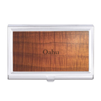Oahu Koa Wood Design Business Card Holder