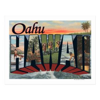 Oahu, letra ScenesOahu, HI de HawaiiLarge Tarjeta Postal