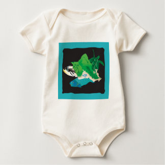 Oahu Map - Turtle, Tigger and Parrot Fish Baby Bodysuit