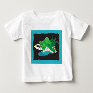 Oahu Map - Turtle, Tigger and Parrot Fish Baby T-Shirt