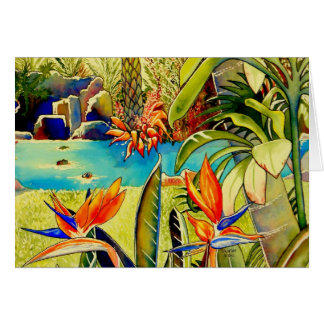 Oahu Pineapple Plantation Pond Greeting Cards