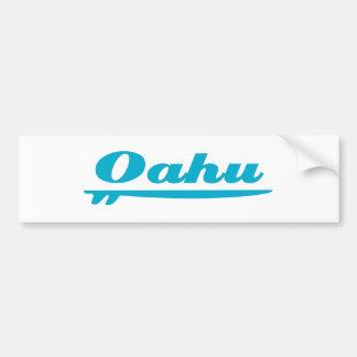 Oahu surfboard blue bumper sticker