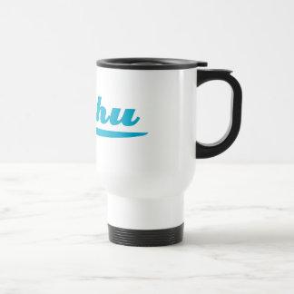 Oahu surfboard blue coffee mugs