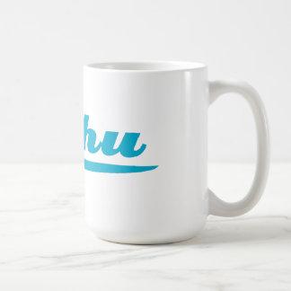 Oahu surfboard blue coffee mug