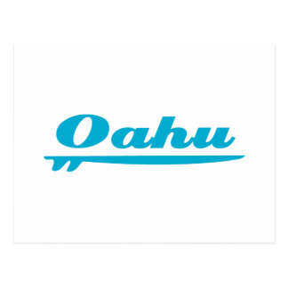 Oahu surfboard blue postcard