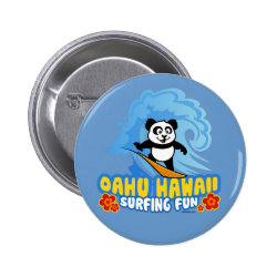 Round Button with Oahu Surfing Panda design