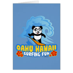 Greeting Card with Oahu Surfing Panda design