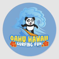 Round Sticker with Oahu Surfing Panda design