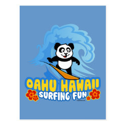 Postcard with Oahu Surfing Panda design