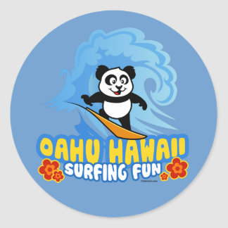 Oahu Surfing Panda Round Sticker