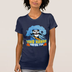 Women's American Apparel Fine Jersey Short Sleeve T-Shirt with Oahu Surfing Panda design