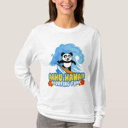 Women's Basic Long Sleeve T-Shirt with Oahu Surfing Panda design