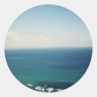 Oahu waters classic round sticker