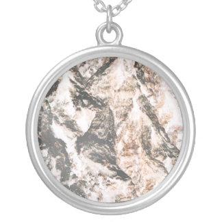 Oak bark inverted lava like background silver plated necklace