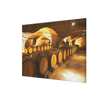 Oak barrles in the cellar at Domaine Comte Stretched Canvas Prints