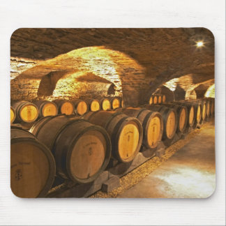 Oak barrles in the cellar at Domaine Comte Mouse Pad