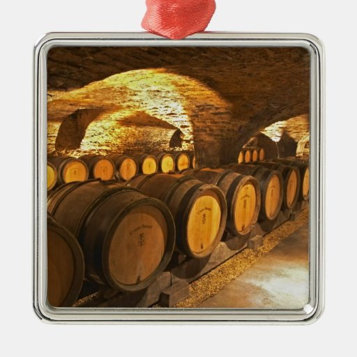 Oak barrles in the cellar at Domaine Comte Square Metal Christmas Ornament