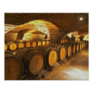 Oak barrles in the cellar at Domaine Comte Poster