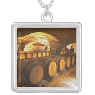 Oak barrles in the cellar at Domaine Comte Square Pendant Necklace