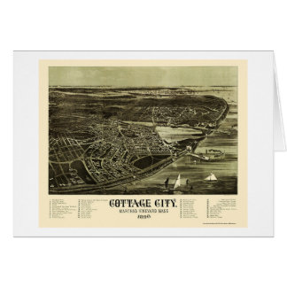 Oak Bluffs, MA Panoramic Map - 1890 Greeting Card
