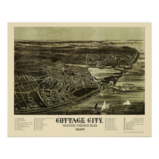 Oak Bluffs, MA Panoramic Map - 1890 Print