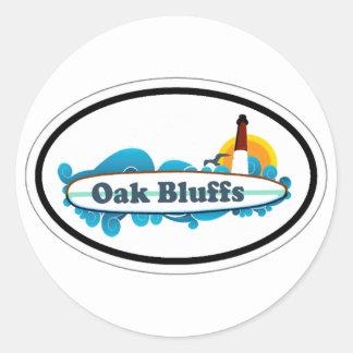 Oak Bluffs Oval Design. Classic Round Sticker