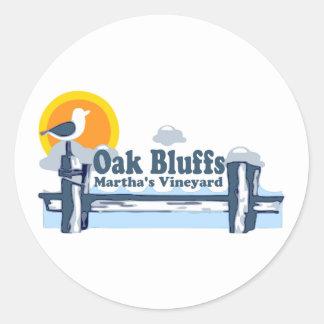 "Oak Bluffs ""Pier"" Design. Classic Round Sticker"