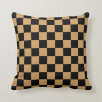 Oak Buff and Black Checkerboard Pattern Throw Pillow