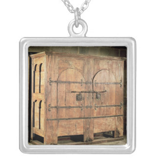 Oak chest of drawers silver plated necklace