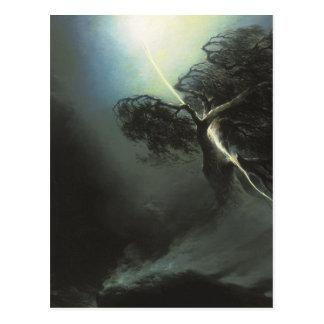 Oak fractured by a lightning. Allegory Maxim Postcard