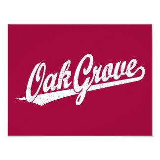 Oak Grove script logo in white distressed Card