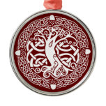 Oak in Snow Metal Ornament