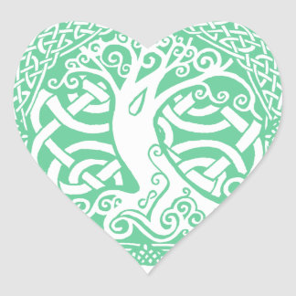 Oak in Snow Heart Stickers