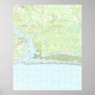 Oak Island North Carolina Map (1990) Poster
