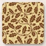 Oak leaf acorn background coaster