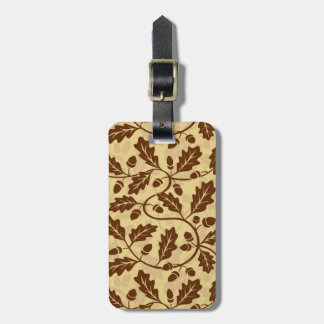Oak leaf acorn background luggage tag