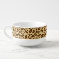 Oak leaf acorn background soup bowl with handle