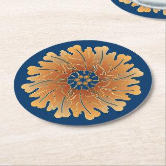 Oak Leaf and Acorn Rosette Round Paper Coaster