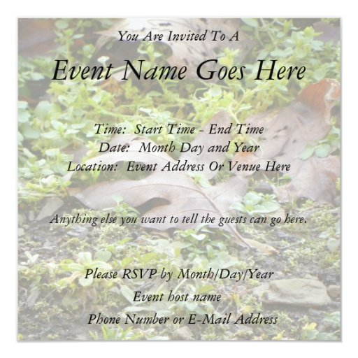 Oak Leaf and Chickweed 5.25x5.25 Square Paper Invitation Card