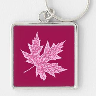 Oak leaf - burgundy wine and pink keychain