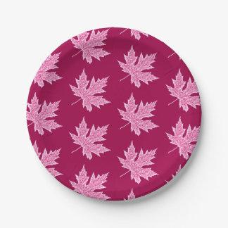 Oak leaf - burgundy wine and pink 7 inch paper plate