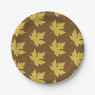 Oak leaf - camel tan and brown 7 inch paper plate