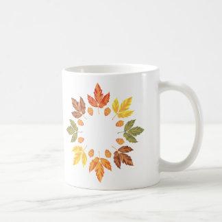Oak Leaf Circle Classic White Coffee Mug