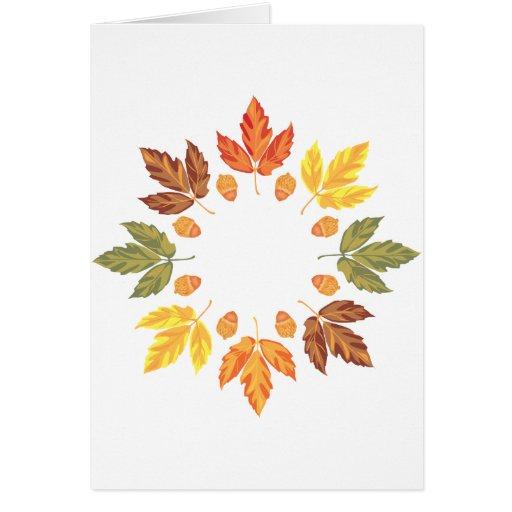 Oak Leaf Circle Greeting Cards