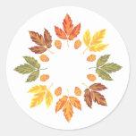Oak Leaf Circle Round Sticker