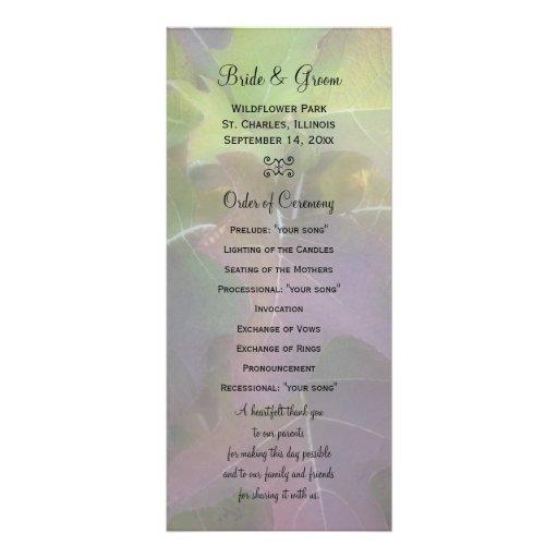 Oak Leaf Hydrangea Wedding Program Rack Cards