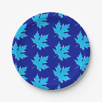 Oak leaf - ice blue and cobalt 7 inch paper plate