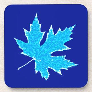 Oak leaf - ice blue and white beverage coaster