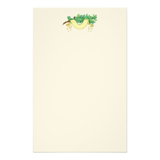 Oak leaf leaves and banner personalized stationery